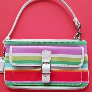 Coach wristlet colorful canvas striped